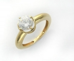 Помолволное кольцо из золота с фианитами 01К134891