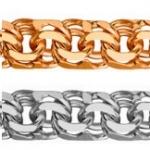 Цепь золотая легкая плетения Бисмарк-гарибальди 217090