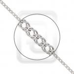 Браслет из платины плетение Двойной ромб с алмазной гранью 41-076-03