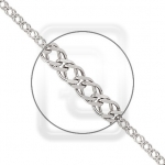 Цепочка из платины плетение Двойной ромб с алмазной гранью 41-076-05