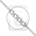 Браслет из платины плетение Двойной ромб с алмазной гранью 41-076-05