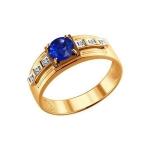Печатка из золота с бриллиантами и корундом сапфировым 6012023