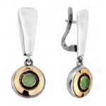 Серебряные серьги Yaffo с золотом и зеленым кварцем SAE155