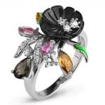 Серебряное кольцо Sandara с с турмалином, перламутром, фианитами и эмалью RNR305