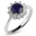 Серебряное кольцо Sandara с сапфиром и фианитами ANR73NA