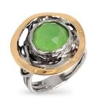 Серебряное кольцо Yaffo с мятным кварцем SAR685