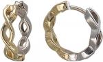 Серьги-кольца из комбинированного золота 01С068420Ж