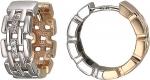 Серьги-кольца из комбинированного золота с фианитами 01С168400