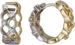 Серьги-кольца из комбинированного золота с фианитами 01С168406Ж