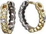 Серьги-кольца из комбинированного золота с фианитами d-17мм 01С168430Ж