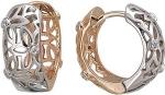 Серьги-кольца из золота с фианитами с узором в виде цветков 01С168409