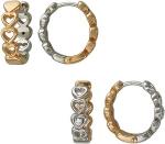 Серьги-кольца из золота с фианитами с узором в виде сердечек 01С168408