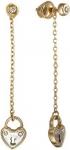 Серьги из красного золота в виде сердечек-замочков с бриллиантами 01С617650W