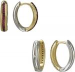Серьги кольца из комбинированного золота с гранатами и фианитами 01С268419Ж
