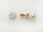 Серьги пусеты из золота с бриллиантами в виде цветка 01С613087Z