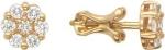 Серьги пусеты из золота с бриллиантами в виде цветка 01С615064