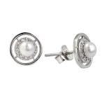 Серебряные  серьги  De Luna с иск.жемчугом и фианитами SGE041