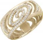 Широкое кольцо из золота с фианитами и узорами 01К136341