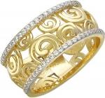 Широкое кольцо из золота с фианитовой дорожкой и узорами 01К136342