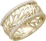Широкое кольцо из золота с фианитовой дорожкой и узоров в виде лепестков 01К136344