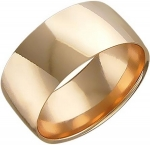 Широкое обручальное кольцо из красного золота, ширина 7,8 мм 01О010260