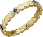 Тонкое фигурное кольцо из золота с изумрудами 01К537668W