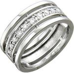 Тройное кольцо дорожка из белого золота с бриллиантами 01О620301