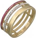 Тройное кольцо из золота с дорожками из рубинов и фианитов 01К238146