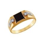 Кольцо с ониксом из золота 010936