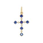 Декоративный крест с бриллиантами и сапфирами 2120010