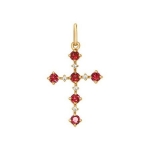 Декоративный крест c бриллиантами и рубинами 4120008
