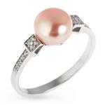 Серебряное кольцо с жемчугом и фианитами Z1-8296