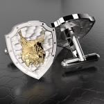Серебряные запонки РЫСЬ РОССИИ (серебро 925 пробы)