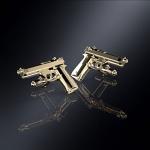 Серебряные запонки пистолет БЕРЕТТА (серебро 925 пробы)
