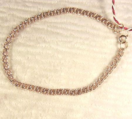 Браслет золотой полый (легковесный) плетения Гарибальди