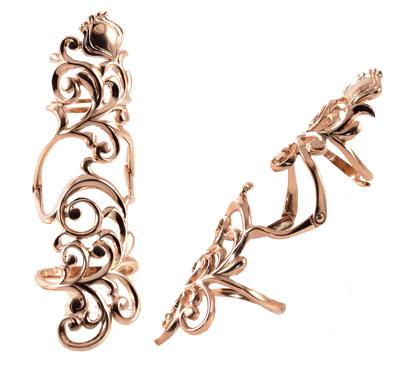 Золотое кольцо на две фаланги Узор Утум